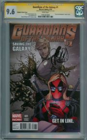 Guardians Of The Galaxy #1 Deadpool Variant CGC 9.6 Signature Series Signed Brian Michael Bendis Marvel comic book